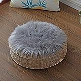 KAIHONG Spitzenqualität Lammfellimitat Teppich, 30 x 30 cm Lammfellimitat Teppich Longhair Fell Optik Nachahmung Wolle Bettvorleger Sofa Matte (Rund grau, 30 x 30 cm)