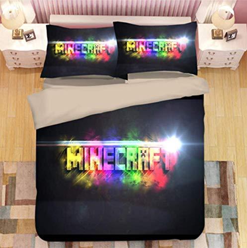 Simproude Juego de Funda de Edredón 200 x 200 cm Minecraft Juego de Ropa de Cama 3 Piezas Incluida 1 Transpirable Altamente Ventilado Funda de Nórdica y 2 Fundas de Almohada