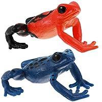 HEMOTON 2個カエルフィギュアプラスチック森林動物のおもちゃカエルモデル現実的なカエルの置物偽の緑のカエルのためのコレクション科学教育小道具