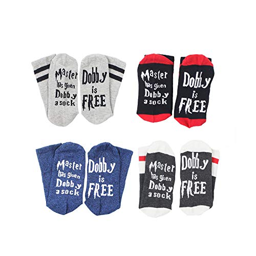 TTD 4 Pairs Unisex Novelty Socks Funny Saying Dobby is Free Knitted Words Crew Socks for Womens Mens