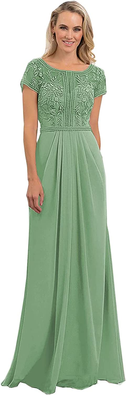 Women's Short Sleeve 安心と信頼 Chiffon Applique Mother Brides Dress of The 訳あり品送料無料
