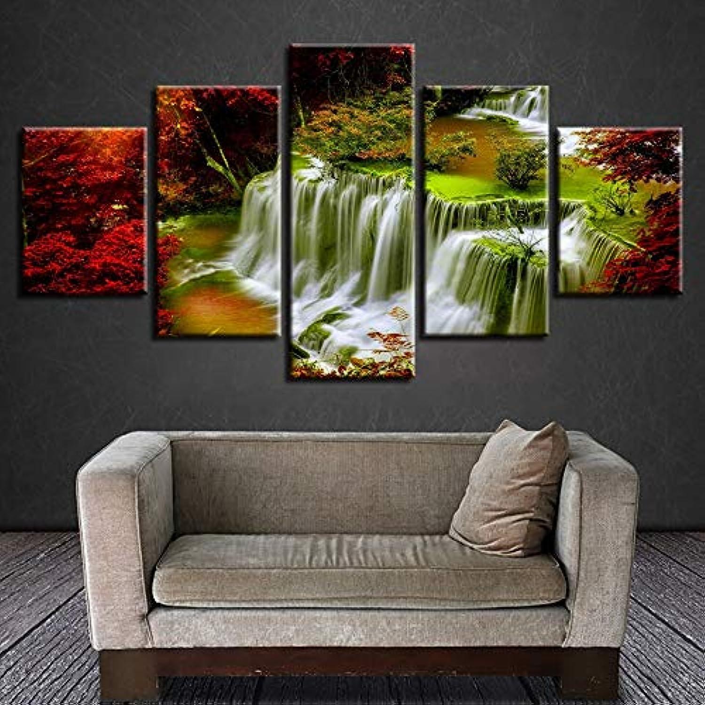 últimos estilos Zlhcich Wall Art Art Art Poster Impresión de Pintura 5 Unidades Cascada de árbol Rojo Paisaje Natural Lienzo Imágenes Decoración Modular Salón s  venta caliente