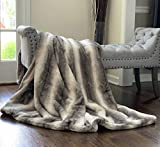 Double Sided Faux Fur Throw Blanket Silky Soft Oversized Afghan Machine Washable, Grey Striped Mink Chinchilla Shadow Fox (Charcoal, X-Long)