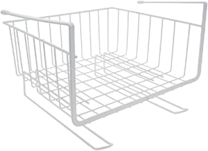 House of Quirk Under Shelf Basket Wire Rack Slides Under Shelves for Storage with Hangers (White)