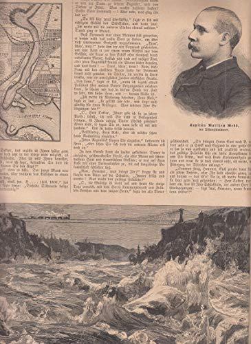 Kapitän Matthew Webb - Langstreckenschwimmer. Kapitän Webbs Tod beim Versuch die Whirlpool Rapids des Niagara Rivers zu durchschwimmen. 3 Abbildungen mit Text auf 2 Blatt. [Grafik]