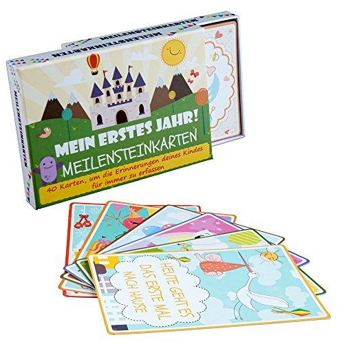 milestone baby cards - 40 Meilensteinkarten baby Fürs Geburtskarten Auf Deutsch - Geschenk Zur Geburt Oder Schwangerschaft Geschenkset