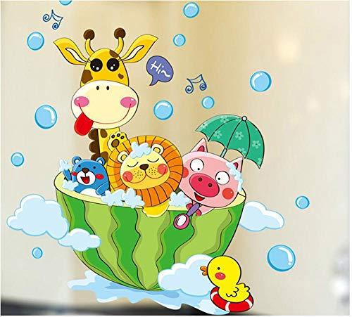 Behang Muurschilderingen Leuke Dieren in De Bad Douche Muurstickers Badkamer Bubbles Stickers voor Kinderen Kamer Baby Kamer Thuis Decoratie Art Decals Decor