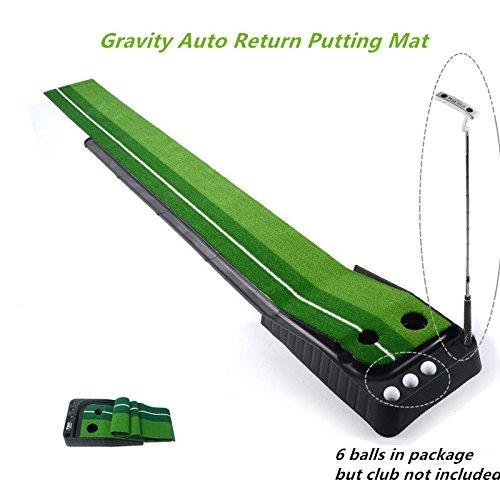 Locisne Interni Esterni Golf Set sfera di ritorno automatico Hazard Putting Mat, portatile professionale Pratica minigolf Trainer Putting Green con ritorno Tray-11.81 '* 118.11' +6 Palline da Golf