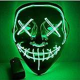 TK Gruppe Timo Klingler Máscara de terror LED roja - como de Purge con 3 efectos de luz, controlable, para Halloween como disfraz para hombres y mujeres (green)