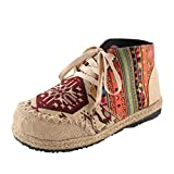MisFox Chaussure de Sports Vintage Espadrilles à Lacets Femme Été Respirant Et Confortable Broderie Espadrilles Coloré Toile Flats