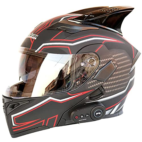 QZH Cascos De Motocicleta Bluetooth, Certificación Dot/ECE Casco Modular De Locomotora De Motocicleta Bluetooth FM con Doble Altavoz Cascos De Motocicleta Abatibles De Cara Completa,A,XL61to62cm