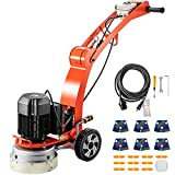 VEVOR Concrete Sander, 220 V 1730 RPM Concrete Floor Sander, 10 '' Disc Floor Groomer, 3 HP Motor Concrete Polisher, High Adjustable Concrete Groomer, Wet and Dry Type 2 Pair Blades