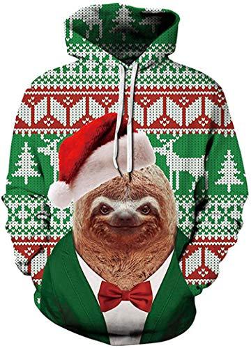 Sudadera para hombre fea de Navidad con capucha impresa en 3