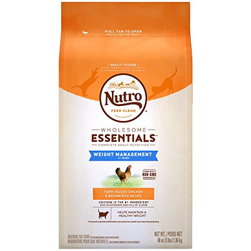 NUTRO WHOLESOME ESSENTIALS Adult Weight Management Natural Dry Cat Food for Weight Control Farm-Raised Chicken & Brown Rice Recipe, 3 lb. Bag