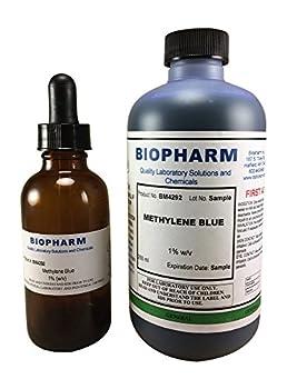 Biopharm Methylene Blue 1% Aqueous Solution | 250 mL | Includes an Empty 50mL Dropper Bottle and Convenient Dispensing Cap