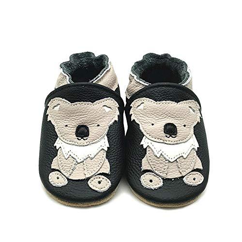 LPATTERN Unisex-Baby Neugeborene Jungen/Mädchen Weicher Leder Lauflernschuhe Krabbelschuhe Babyschuhe Hausschuhe, Beige Koala auf Schwarz, 6-12 Monate