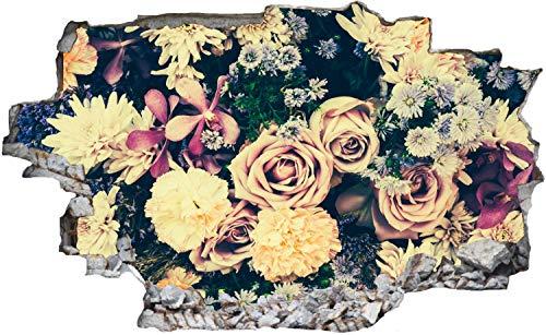 DesFoli Rosen Vintage Blumenstauß Wandtattoo Wandsticker Wandaufkleber C2993 Größe 60 cm x 90 cm
