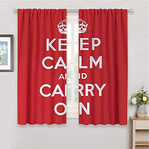 DIMICA Room Darkened Curtain Keep Calm Red and White Composition with Keep Calm and Carry On Text and a Royal UK Crown Print Sliding Soundproof Curtains W63 x L63 Inch Red White