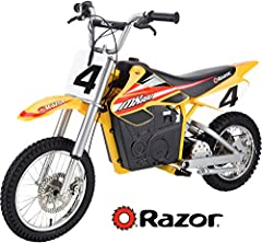 Compact electric motocross bike with powerful 650-watt electric motor Carries riders at speeds of up to 17 mph; authentic dirt bike frame geometry Dual suspension and riser handlebars deliver smooth, comfortable ride. Battery life Up to 40 mins Pneum...