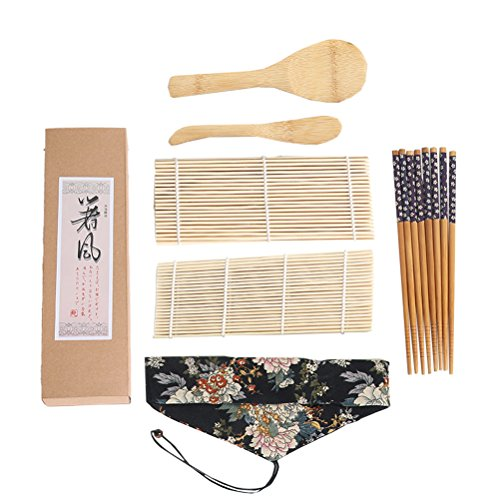 Hemoton Set de Sushi 7Pcs Sushi Maker Rolling Mat Nigiri Platos Arroz Cuchara Bamboo Sticks para Hacer su Propio Regalo para Principiantes