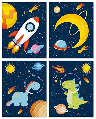 IARTTOP 4er Set Kinderzimmer Bilder für Junge | Weltraum Wandbilder | Dinosaurier Kinderbild | Astronaut/Planeten WandDeko | Wand Kunst Poster für Schlafzimmer Kindergarten Babyzimmer Deko Ohne Rahmen