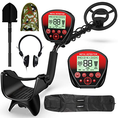 EOREVGM Metal Detectors for Adults ,Waterproof Metal Detector, High Accuracy Adjustable with Pinpoint & Disc & All Metal Mode,with Metal Detecting Shovel,Headphone,Carrying Bag