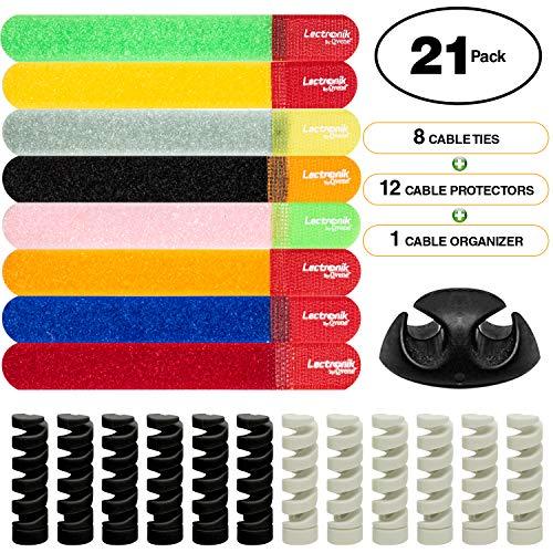 LECTRONIK Organizador y Protector de Cables – Paquete de 8 Tiras Sujeta Cables Reutilizables y 12 Protege…