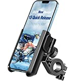 【2021 1S Quick Release】 Tiakia Bike Motorcycle Phone Holder, Universal Phone Mount for Bicycle Anti Shake, 360° Rotation & Tool Free Install, Scooter Bike Holder for Samsung Galaxy/Huawei/iPhone X/Xs