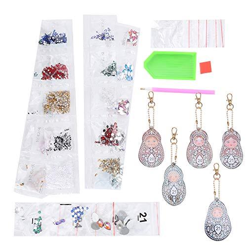 Diseño de muñecas matrioska, muy ligero, bonito cuadro de diamantes, llavero, llavero, colgante, funda de teléfono, decoración, artesanía para etiqueta de equipaje.