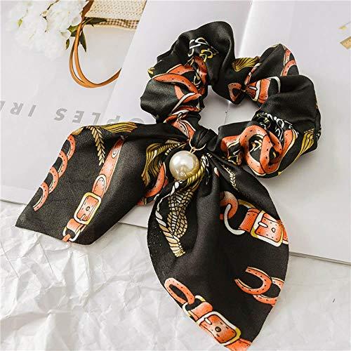 Bandeau Doux Femmes Perles Arc Cheveux Corde Anneau pour Dame Filles Cheveux Chouchous Élastique Bandes De Cheveux Titulaire De Queue De Cheval Accessoires De Cheveux-Rouge Noir