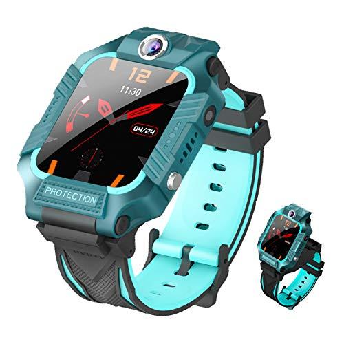 HQPCAHL Niños Smartwatch Impermeable GPS Reloj Inteligente Phon Tracker SOS Chat De Voz Cámara Despertador Cálculo para Regalos Estudiantes Compatible con iOS Android,Verde