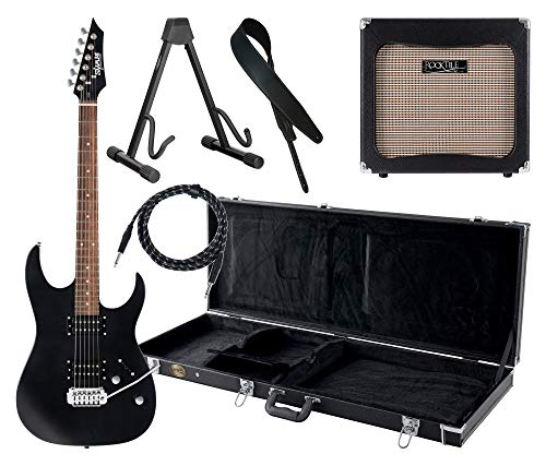 Shaman Element Series HX-100 BK Komplett Set - E-Gitarre - Modeling-Verstärker - Koffer - Ledergurt - Ständer - Kabel - Satin Black