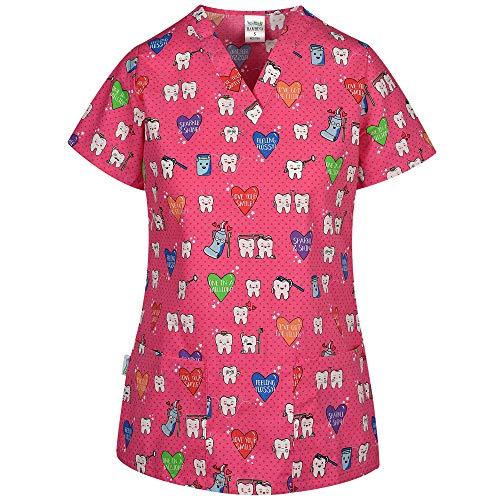 DINOZAVR Bambina Uniforme Sanitario Camisa Médica con Cuello en Y para Mujeres - Dientes XS