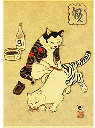 AS65ST12 Estilo Nórdico cartel, lona de pintura imágenes del arte impresiones Samurai japonés del tatuaje del gato pósters for sala de estar decoración de la pared 40x60cm sin el capítulo Posters Prin