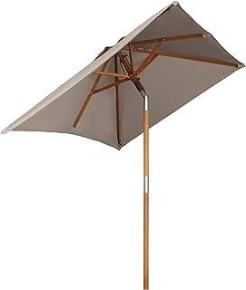 comprar comparacion Sekey® sombrilla Parasol de Madera para terraza jardín Playa Piscina Patio 200 × 150 cm Crudo rectángulo Protector Solar U...