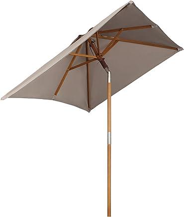 Sekey® 200 × 150 cm Parasol en Bois inclinable pour Patio Jardin Balcon Piscine Plage rectangulaire Beige/Taupe Sunscreen UV50+