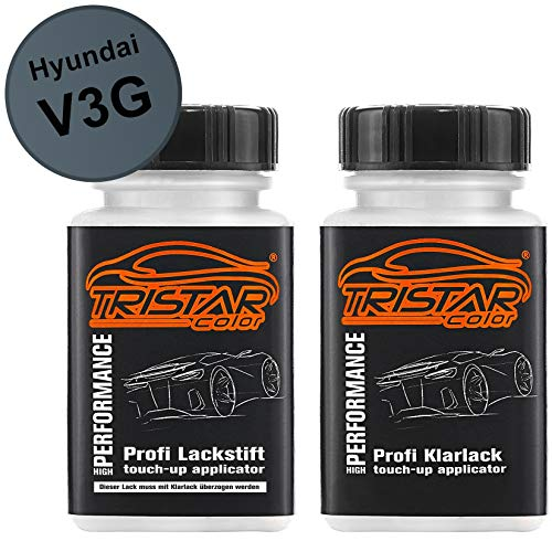 TRISTARcolor Autolack Lackstift Set für Hyundai V3G Star Dust Metallic Basislack Klarlack je 50ml