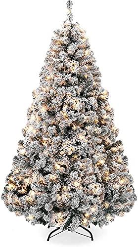 FFVWVGGPAA Arbol Navidad Árbol de Navidad Artificial Cubierto de Nieve con Luces...