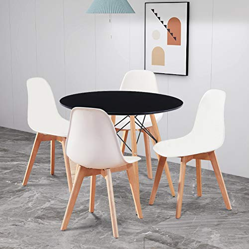 GOLDFAN Dining Table with 4 Chairs Round Kitchen Table PP Chairs with Beech Wood Legs for Lounge Dining Room Living Room Office (Black & White)