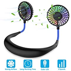 【Stay COOL Anywhere Anytime】Feeling hot? You need to go outside but also have no hands to hold regular portable fan? Why not always stay cool with this wearable neck fan? You can hang the fan around your neck and take it everywhere, will not feel tir...