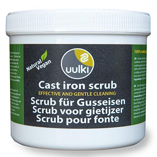 Uulki Gusseisen Reiniger Scrub – Natürliche Pflege für Grillzubehör – Pflegemittel für Grillpfannen, Töpfe, Grillroste, Bratpfannen, Feuertöpfe usw. - Vegane Reinigung (500 g)