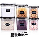 LARDERGO Cereal Container, 6 Pieces Plastic Flour Storage Containers, BPA Free Food Storage...