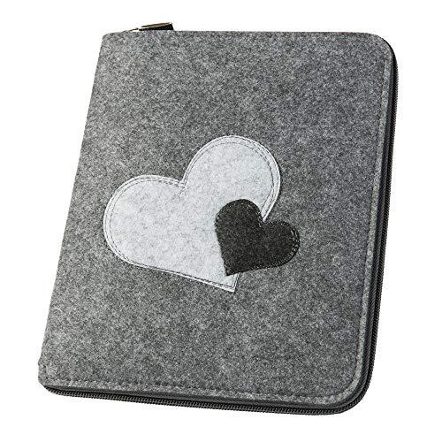 Mom's Organizer 'Herzen' mit Reißverschluss für Mutterpass & U-Hefte, grau (Farbe/Motiv wählbar) | Filz Hülle in A5
