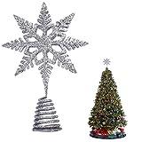 EKKONG Puntale per Albero di Natale, Albero di Natale Argento,Puntale Albero Natale Glitte...