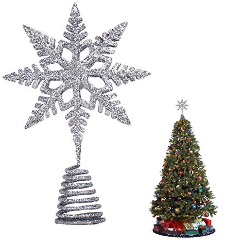 EKKONG Estrella de Navidad para Árbol,Estrella de Cinco Puntas Árbol,Navidad Decoraciones, Adorno de Árbol de Navidad Dorado Brillante para Decoraciones de Árboles de Navidad (Plata)