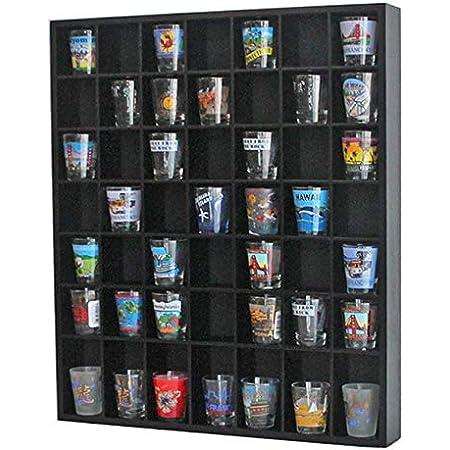 Shot Glass Display Case Wall Storage Organizer Holder Cabinet Shadow Box Black