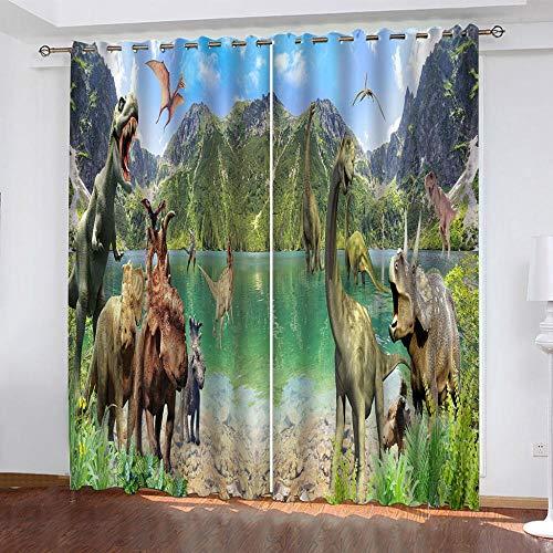DRFQSK Cortinas Opacas Térmicas Aislantes para Salon Cortinas con Ojales para Dormitorio Impresión 3D Especies De Dinosaurios Animales Cortinas para Ventanas 2 Piezas 140 X 160 Cm(An X Al)