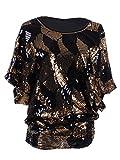 Anna-Kaci Womens Loose Fit Sequin Dolman Sleeve Evening Blouse Top, Bronze, Large