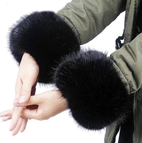 Cheerlife Damen Mädchen Faux Fell Pelz Armstulpen Stulpen Manschetten Fellstulpen Handschuhe Herbst Winter 2.Schwarz