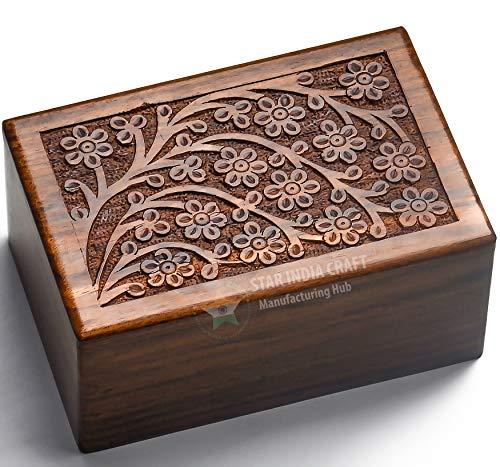 Star India Craft Rosewood Cremation Box